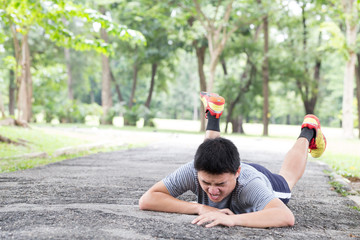 Sport accident injury. stumble and fall while jogging