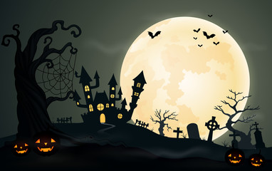 Halloween night background with pupkins castle and full moon