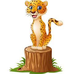 Cartoon cheetah sitting on the tree stump