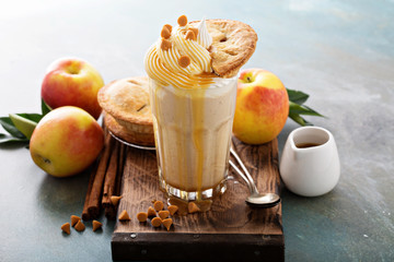Apple pie milkshake with syrup