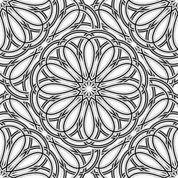 Page coloring pattern with circular mandala outline isolated vector illustration