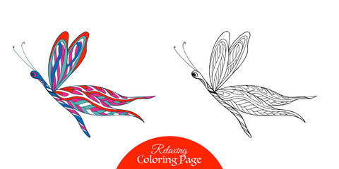 Decorative butterfly. Coloring page with sample