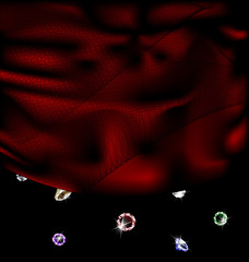 red silk and gems