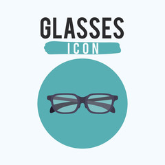 Black glasses icon. Optical fashion and accesory theme. Vector illustration