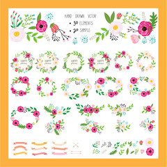 hand drawn floral vector for summer