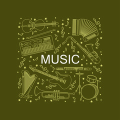 Music instruments thin line icon set for web and mobile.