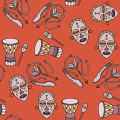 Seamless pattern with voodoo symbols.