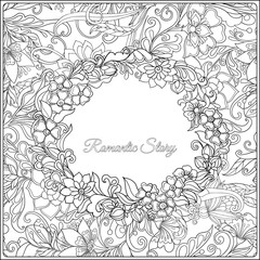 Coloring page for adult. Vintage floral pattern with space for text.
