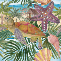Watercolor painting illustration of sea turtles, seastar, seashells on the beach and palm trees. Marine seamless pattern. A beautiful colorful background for your design postcards, textiles, wallpaper