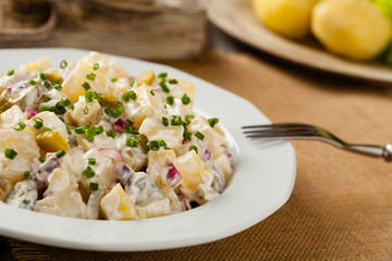 Traditional German potato salad with cucumber, onion and mayonna