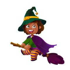 Cute Latina Girl Witch on the Broom. Happy Halloween. Trick or Treat, Cartoon Illustration.