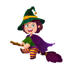 Cute Brunette Girl Witch on the Broom. Happy Halloween. Trick or Treat, Cartoon Illustration.