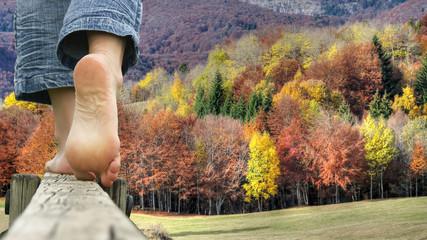 randonnée pieds nus - automne en chartreuse