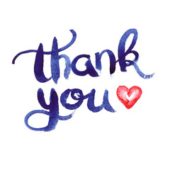 """Simple dark blue hand written words """"thank you"""" and small red heart painted in watercolor on clean white background"""