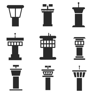 Airport control tower vector icons