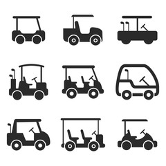 golf cart vector icons