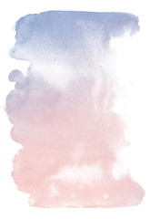 Watercolor background for textures. Abstract watercolor background. Spray paint, ink stains on the paper. Color pink, blue. Rose quartz, serenity
