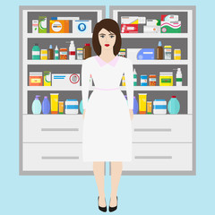 Pharmacy vector infographic elements. Woman pharmacist shows medications on showcase.