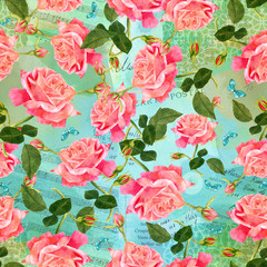 Seamless pattern with watercolor rose and butterflies on old eph