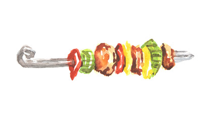 Watercolor isolated kebab on white background. Grilled meat with vegetables on a skewer. Fresh and tasty food for outdoor restaurants or cafe.