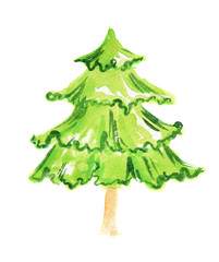 Watercolor christmas tree. Beautiful Christmas tree for greeting cards and decoration.