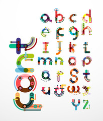 Linear design font, alphabet