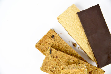 Snack protein raisin bar isolated on white