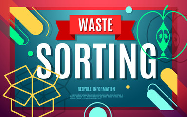 Garbage sorting flat poster with symbols and text