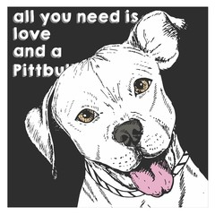 Vector close up portrait of english pit bull, isolated on black square background. All you need is love and a dog.