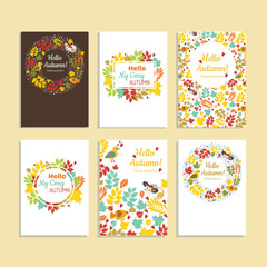 Collection of autumn sale and other typography flyer template. B