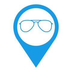 Icono plano localizacion gafas azul