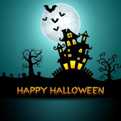 Halloween night background with castle, trees and bats