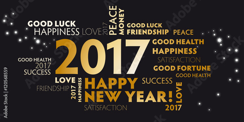 2017 Black And Golden Postcard Happy New Year Stockfotos Und