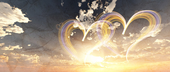lovely heart in cloudy sunset sky 3d illustration, fantasy background