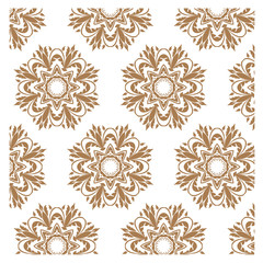 Pattern of floral flower tile circles. For wallpaper pattern, surface textures ornament, fabric textile pattern