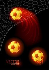 Set of burning soccer balls isolated on a black background.