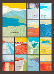 Desk Calendar for 2017 Year. Set of 12 Months calendar pages and cover. Abstract landscapes in art deco style. Vector EPS 10.