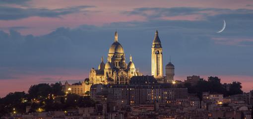 Basilique of Sacre coeur at night, Paris, France
