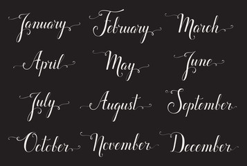 Handwritten names of months. Elegant calligraphic words isolated on black background. Lettering for calendar, diary or organizer.