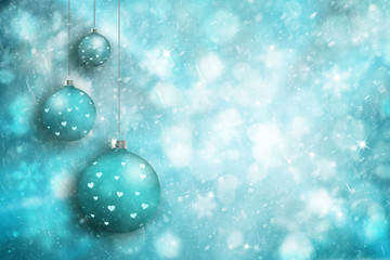 Cyan blue color Christmas bulbs with heart shapes on bright blurred snowy winter background. Christmas and Happy New Year holiday background with place for message. Greeting card illustration.