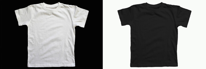 Black cotton t-shirt on a white background.   White cotton T-shirt on a black background