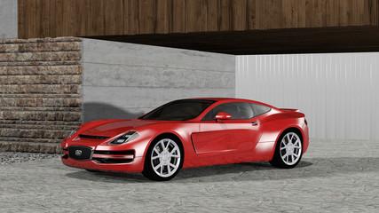 Roter Sportwagen in einer Garageneinfahrt eines modernen Hauses