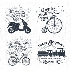 Hand drawn textured vintage labels set with scooter, bicycle, steam train, and lettering vector illustrations.