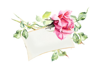 Frame from roses. Wedding drawings. Water color painting. Greeting cards. Roses background, watercolor composition. Flower backdrop. Decoration with blooming roses.
