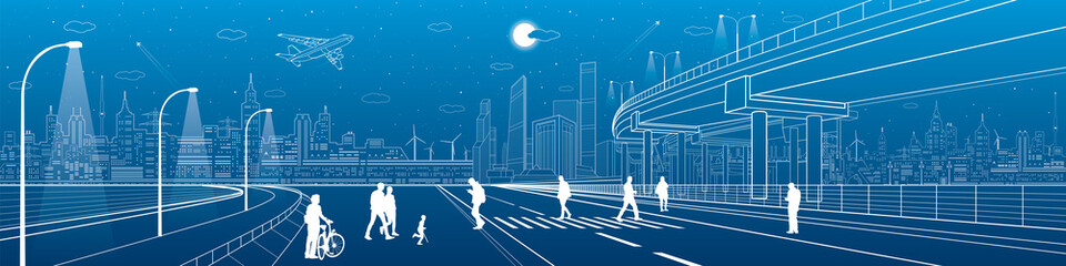 Wall Mural - City scene, people walk on the street, city's skyline on background, street life. Automotive flyover, infrastructure panorama, transport overpass, highway, white lines, neon town, vector design art