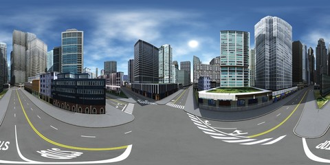 Cityscape. Environment map. HDRI map. Equirectangular projection. Spherical panorama.
