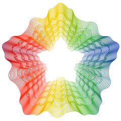Abstract rainbow curved lines flower metamorphosis on white background. Vector element for your creativity