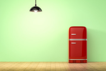retro design fridge with green background