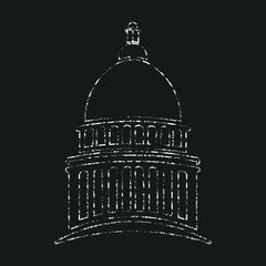 Congress Capitol in Chalk design. Vector graphic