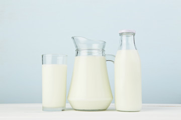 Dairy products. Assortment of fresh milk on white table with col